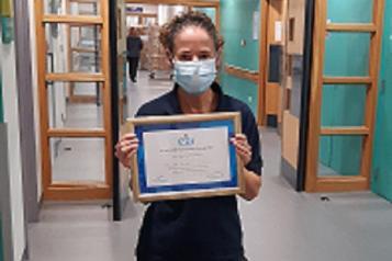 Sam Walklett with award