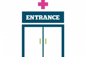 Colourful infographic showing entrance to a health service eg GP