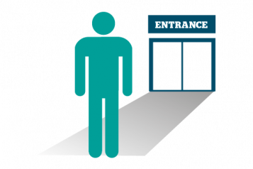 Infographic of a figure standing in front of an entrance to what could be a GP or hospital