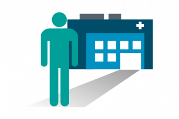 Graphic of a person standing in front of a hospital