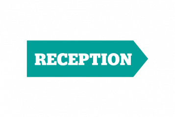 Infogographic of sign saying reception