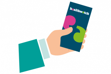 Colourful infographic of a hand holding a healthwatch leaflet