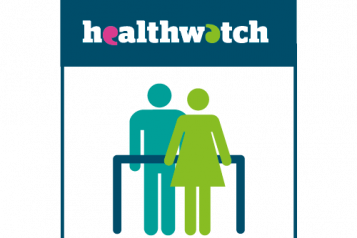 Infographic of a healthwatch sign with people standing underneath it