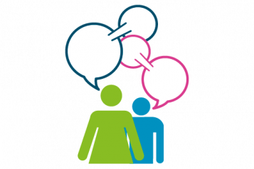 Inforgraphic of 2 people and speech bubbles