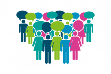 Colourful infographic showing people with speech bubbles