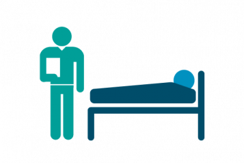 Infographic of a figure in a bed with a nurse or carer holding a clipboard at the foot of the bed