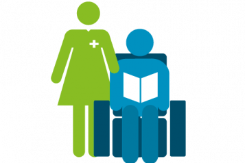 Infographic of a nurse or occupational therapist standing next to a patient sitting in a chair