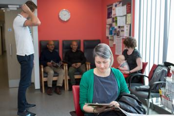 People waiting in GP reception