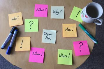 Picture of table with post it notes. Main one reading chronic pain and others reading where? when?