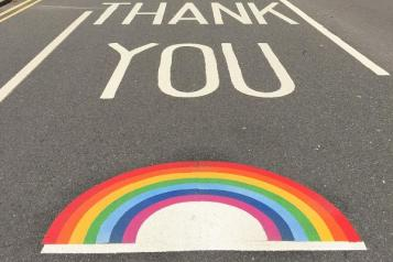 rainbow thank you on road