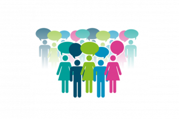 Graphic of group with speech bubbles