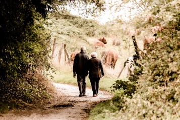 Elderly couple walking in the countryside