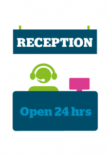 Colourful infographic of a person sitting behind a reception desk with headphones on in a medical setting
