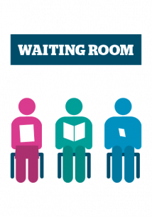 Colourful infographic of 3 figures sitting down with waiting room written above