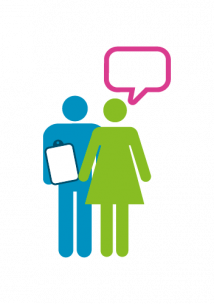 Colourful graphic of a person holding a clipboard with another person next to them as though in conversation