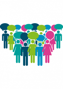 Infographic of colourful people standing in formation with speech bubbles
