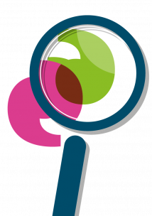 Infographic of colourful magnifying glass over an apostrophe
